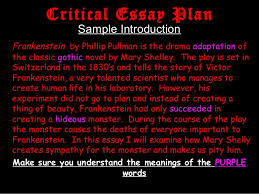 frankenstein presentation juniours  critical essay plan sample introduction frankenstein