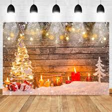 Light Backdrops For Photography Us 9 62 42 Off Christmas Photography Backdrop Christmas Tree Bright Lights Background Candle White Snow Retro Wood Vinyl Backdrops For Children In