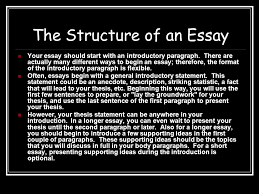 writing academic essays structure genre the structure of an  the structure of an essay your essay should start an introductory paragraph
