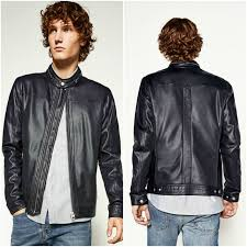 zara navy blue faux leather perforated er jacket man authentic bnwt 3548 356