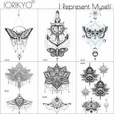Iorikyo Small Women Geometry Moth Temporary Tattoo Henna Flower