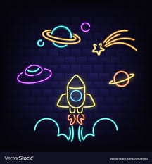 Planet Neon Light Neon Rocket Ufo Saturn Planet And Comet Icons