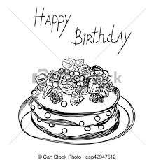 Birthday Cake In Sketch Style