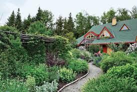 cottage garden landscaping straw