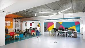 Colorful office space interior design Corporate Office View In Gallery Colorful Modern Office Space Design Decoist World Of Color And Creative Design Modern Industrial Office In