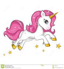Little Pink Unicorn Design For Children Stock Vector