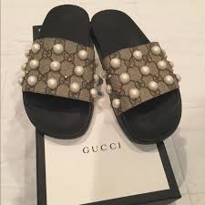 gucci slides with pearls. gucci shoes - pearl slides size 8 worn once with pearls i