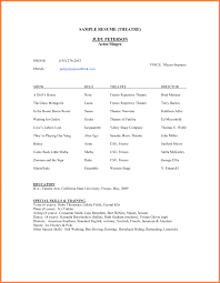 Beginners Acting Resume Dj Resume Layout Acting Resume Sample