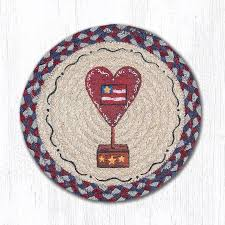 details about heart w flag 100 natural braided jute swatch 10 trivet placemat by earth rugs