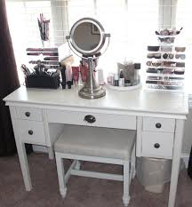 modern makeup vanity. white makeup vanity table storage unit with leather bench and portable lighted mirror. modern e