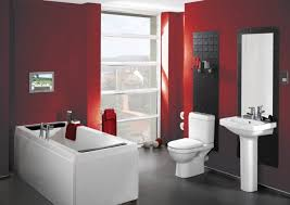 bathroom decorating ideas. Bathroom Decorating Ideas With White And Red Decoration Also Rectangle Bathtub