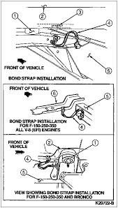 intermittent voltage drop ford bronco forum many times an engine to firewall ground strap is disconnected or left off after an engine or transmission overhaul or damaged loose corroded