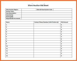 Silent Auction Bid Sheet Template Free Samples Examples Of Sheets ...