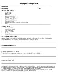 free employee warning notice templates