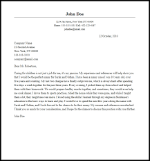 create cover letter nanny cover letters