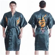 new chinese traditional dargon bathrobe men bath robes wedding Wedding Kimono Male new chinese traditional dargon bathrobe men bath robes wedding kimono classic male embroidered dragons roupao m l wedding kimono for sale