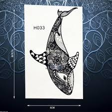 черная хна рыба дельфин временные татуировки наклейки для мужчин