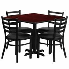 of4s breakroom table 36square w 4 metal restaurant chairs vinyl seating 300
