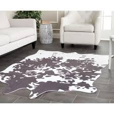 big cowhide rug safavieh faux grey white polyester 5 x 6 free