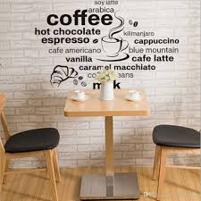 2017 new design simple and stylish english coffee pattern home decoration wall stickers living room cafe wall decals wallpaper decals for wall decals for