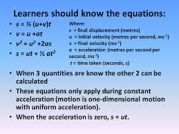 learners should know the equations