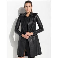 black women s leather trench coat women black long coat