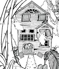 Spooky Haunted House Coloring Page Conferperuinfo