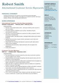 Qualifications For A Customer Service Representative International Customer Service Representative Resume Samples