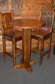 rustic round bar table teton barn wood pub table with copper top on bar stool od