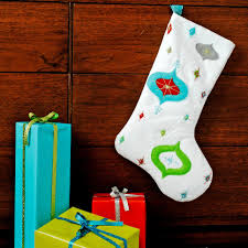 White Cute Stocking Frosty Blue Gift With Green Bow Red Silver Bow