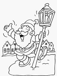 Kerstman Met Rudolf Foto Kleurplaat Kerstman Dansen Lantaarn