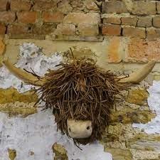 highland cow wooden wall sculpture