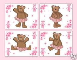 image is loading pink ballerina nursery prints teddy bear wall art  on teddy bear wall art for nursery with pink ballerina nursery prints teddy bear wall art baby girl ballet