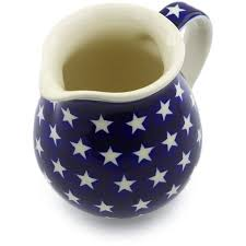 Polish Pottery 14 Oz Pitcher America The Beautiful Theme Hand