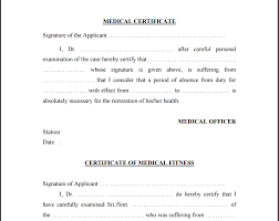 Example Certificate Medical Fitness Certificate Sample For School