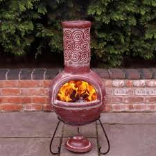 fire pit large clay chiminea outdoor fireplace