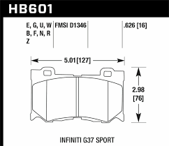 Details About Hawk Performance Street Brake Pads Hb601f 626 Fits Infiniti 2009 2013 Fx50