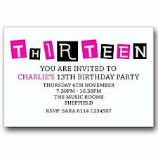 13th Party Invitations Details About 10 Personalised Boys Girls Teenager 13th Birthday Party Invitations T047