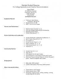 Example Resume For High School Students College Applications Senior