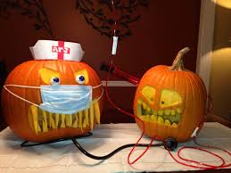 Scary Pumpkin Painting Halloween Decorated Pumpkin Medical Office Colonoscopy Patient