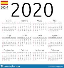 Plain Calendar 2020 Calendar 2020 Spanish Sunday Stock Vector Illustration