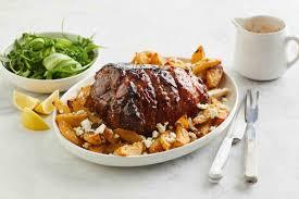 Sticky Honey Roast Lamb With Feta Potatoes
