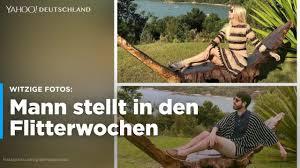 Lustige Flitterwochen Mann Stellt Model Fotos Nach