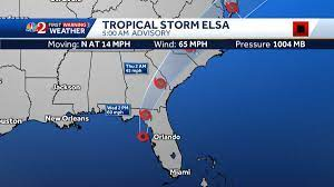 Tropical Elsa continues to move up ...