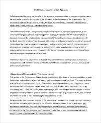 Sample Annual Performance Review Sample Self Appraisal For An Annual Performance Review