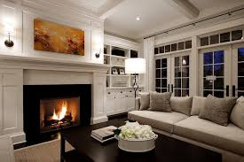 interior design living room traditional. Fireplace Mantel With Built In Cabinets Living Room Traditional Coffered Ceiling Curtain Panels Transom Windows Interior Design M