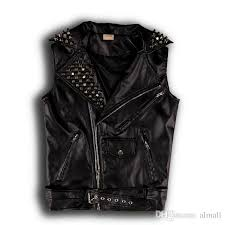 punk mens leather vest coats metal decor rivet jackets slim lapel shiny studded winter jackets and coats mens coat jacket from almall 76 15 dhgate com