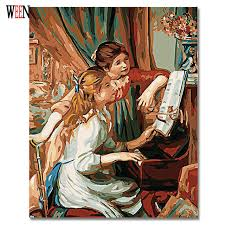 ween playing the piano oil painting by numbers on canvas diy handpainted sisters coloring by numbers