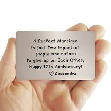wallet insert card 17th anniversary gift idea for him love reminder personalized creative gif