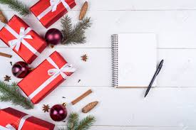 Blank Boxes To Decorate Top View Of Blank Notebook On White Wooden Background With Xmas 91